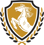 horse set inside shield crest with laurel
