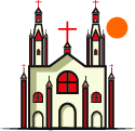 illustration of church with sun
