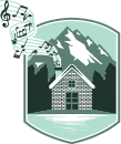 illustration of house and mountains with music notes