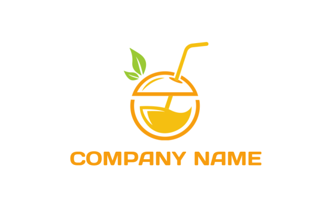 juice in orange fruit with straw logo template by logodesign net juice in orange fruit with straw logo