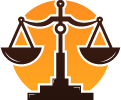 justice scales and yellow circle