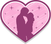 kissing couple in heart shape