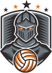 knight with volleyball in shield