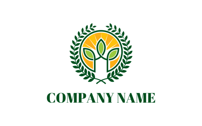 leaves inside circle with sun rays and laurel wreath | Logo Template ...