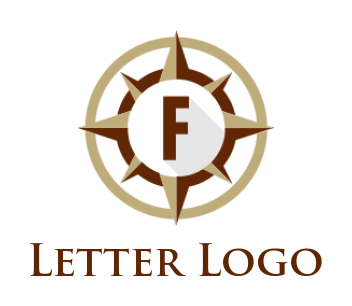 letter f inside the compass and circle