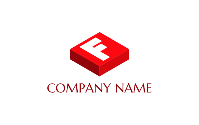 letter f merged with 3D box   Logo Template by LogoDesign net