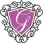 letter g inside ornamental shield