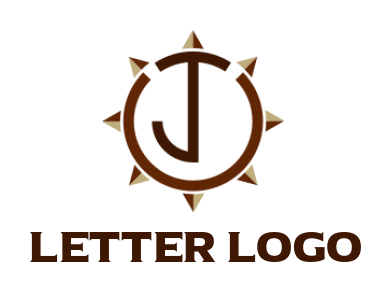 letter j merged with compass