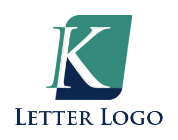 letter k in front of rounded rectangle