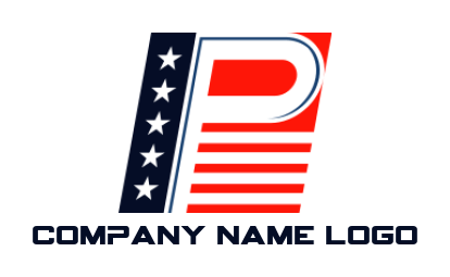 letter p merged with american flag