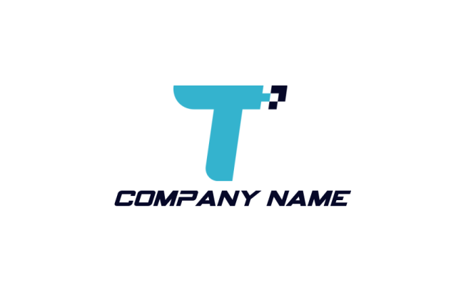 letter t merged with pixels | Logo Template by LogoDesign net