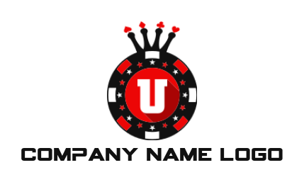 letter u inside the poker chips with crown