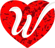 Letter W incorporated with heart