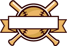 line art baseball and bat with ribbon