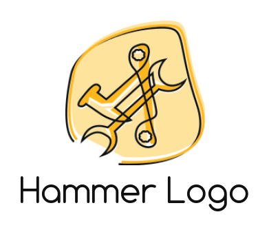 line art hammer and wrenches