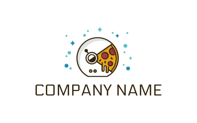 line art pac man with pizza slice logo template by logodesign net