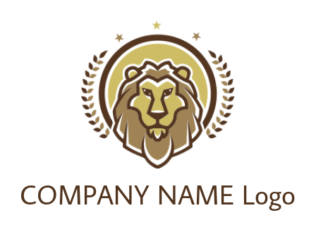 line style lion emblem with laurel