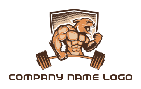 lion muscle man gym mascot with dumbell in shield