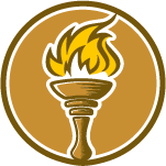 lit hand torch in circle