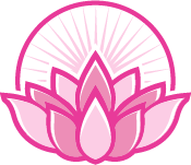 lotus flower in circle with rays