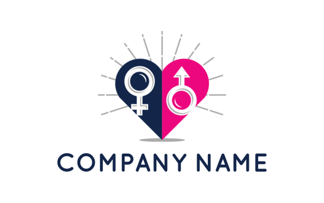 Male And Female Symbols In Heart With Rays Logo Template By