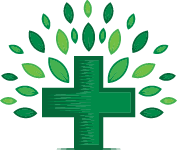 medical cross and leaves forming tree shape