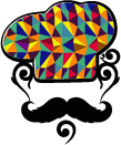 mosaic hat on chef with mustache