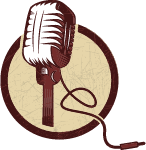music microphone's illustration in circle