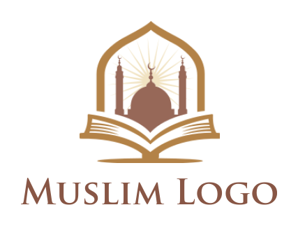 Muslim mosque on a open book
