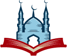 Muslim mosque with crescent above open book