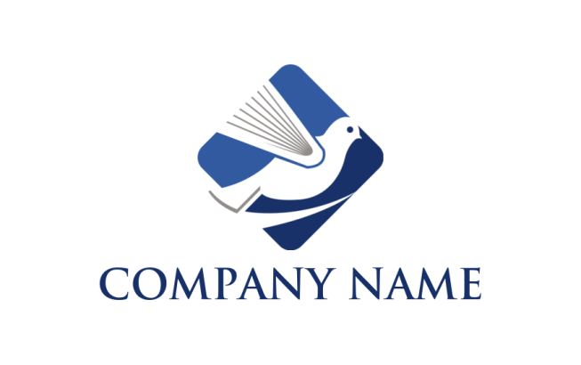 negative space flying bird in square logo template by logodesign net