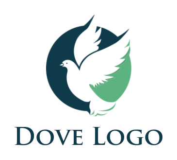 negative space flying dove in circle