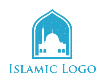 negative space mosque with stars in dome