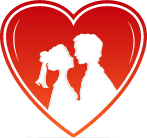 negative space romantic couple inside red heart