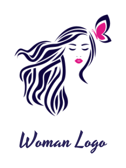 negative space woman face with long hairs and butterfly