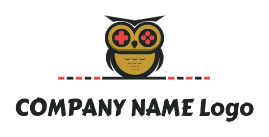 owl playing video game with controller   Logo Template by