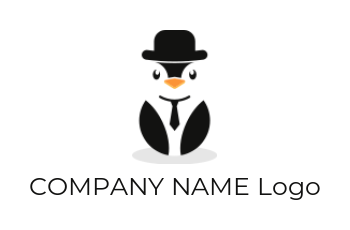 penguin with tie hat and court