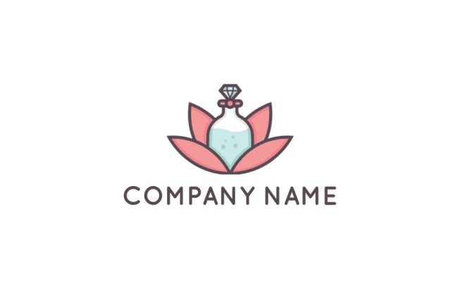 Perfume Bottle Merged With Lotus Flower Logo Template By