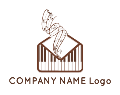 piano keys between music notes | Logo Template by LogoDesign net