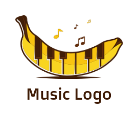 piano keys merged with banana and music notes