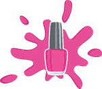Pink splash of nail paint around a bottle
