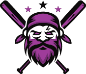 pirate head with crossed baseball bats with stars