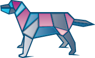 polygonal colorful dog