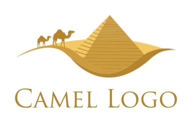 pyramid and camels in desert