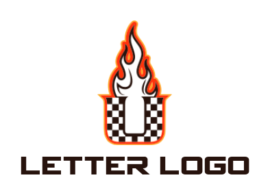 racing flag merged with letter u and fires