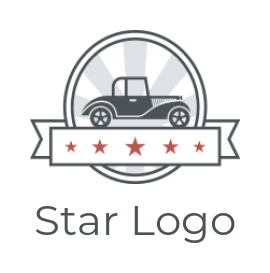 rays behind classic car in an oval shape with stars in a ribbon banner