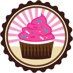 retro pink cupcake in badge with rays
