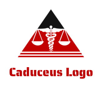 scale with snake caduceus symbol in triangle