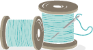sewing thread spools with needle