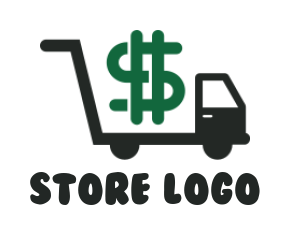 Shopping cart with truck and dollar sign